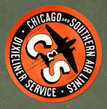 Collctable Vintage Airline luggage label  Chicago & Southern Air line   #687
